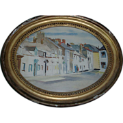 Early 20th c. Watercolor of a European Street Scene in an 18th c. Gilt Frame