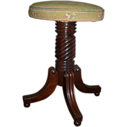Early 19th c. American Federal Mahogany Piano Stool in Classical Taste with Petit Point Seat .