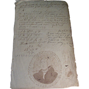 Early 19th c. American Federal Ink Wash / Drawing of President George Washington with Calligra