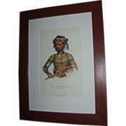 McKenney & Hall Hand Colored Print of Native American Indian Shau-Hau-Napo-Tinia An Ioway Chie