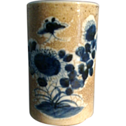 Fine 19th c. Chinese Porcelain Cylindrical Brush Pot with Crackle Glaze