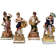 Set Four Large Early 19th c. Pearlware Staffordshire Figures of the Four Seasons - Spring, ...
