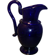 Large 19th c. Cobalt Glass Hand Blown Pitcher