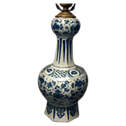 18th c. Delft Knobble Shaped Vase Mounted as a Lamp - Mille Fleur Blue & White