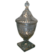 Fine 18th c. Georgian Anglo Irish Glass Covered Urn Deep Cut Crystal