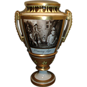 Fine 19th c. Dihl Old Paris Porcelain Urn Decorated with Grisaille Painting of Dancing Dogs ..
