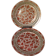 Pair Early 19th century Chinese Export Porcelain Plates with Orange Palette & Pierced Reticula