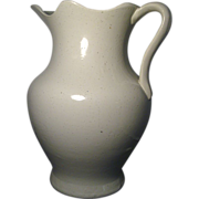 Large 19th c. White Salt Glaze Stoneware Pitcher
