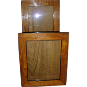 Good Pair 19th c. Biedermeier Fruitwood & Ebonized Wood Picture Frames