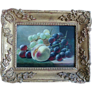 19th century Oil Painting on Wooden Board by John Augustus Thelwall Fruit Still Life of Peach