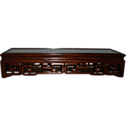Chinese Carved Mahogany Long Plateau Stand for Qing Porcelain