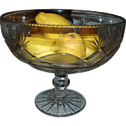 Early 19th c. American Federal Pittsburgh Flint Glass Footed Compote or Punch Bowl