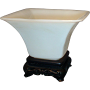 Antique 19th century Chinese White Peking Glass Square Libation Cup & Stand