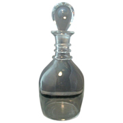 Early Steuben Glass Clear Crystal Ringed Decanter
