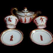 Antique 19th century Dagoty A Paris Porcelain Tea Set with Classical Figures 1810