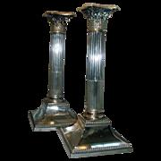 Pair Antique 19th century Sheffield Corinthian Column Candlesticks