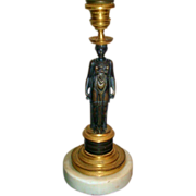 Antique 19th century Empire Candlestick Lamp Gilt and Patinated Bronze Caryatid