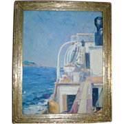 Fine Wells Moses Sawyer Oil Painting of a Sea Ship on the Mediterranean with Elba in the Dista