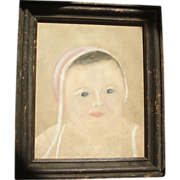 Antique 19th century American Folk Art Drawing of a Young Child