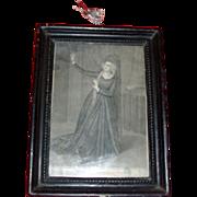 Antique 18th century Framed Print of Actor Ann Brunton Merry as Callista
