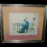 Antique 19th century Chinese Garden Scene Print Framed in Silk Mat
