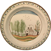 Antique 18th century English Creamware Polychomre Decorated Plate