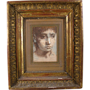 Paintings by Conger Metcalf - Portraits of Young Men Framed in Period 18th century Empire Carv