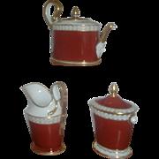 Antique Early 19th century Old Paris Porcelain Tea Pot Sucrier and Cream Jug B. Klein