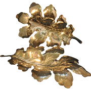 Pair Antique Early 20th century Apollo Studios New York Sculptural Silver Oak Leaf Dishes 1910