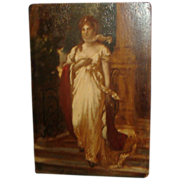 Antique 19th century Grand Tour Miniature Oil Painting on Board Classical Portrait of Luise of