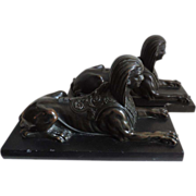Pair Antique Early 19th century English Regency Bronze Grand Tour Sphinx on Marble Bases