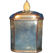 Antique 19th century Old Sheffield Silver on Copper Tea Caddy Box with Pineapple Finial