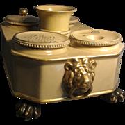 Early 19th c. Wedgwood Regency Creamware or Drabware Encrier Inkwell