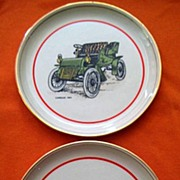 Cadillac Oldsmobile Chevrolet  Antique Car  Plates and Hyalyn Ashtray
