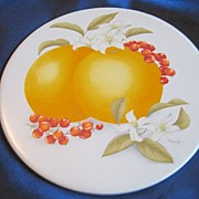 Orange Blossom Hyalyn Ceramic Trivet Wall Plaque