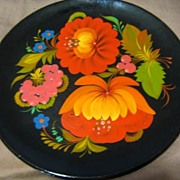 SALE Lacquered Wood Tole Plate, Hand Painted Orange Flowers