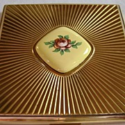 Evans Gold Tone Square Compact with Pink Rose Transfer Porcelain Insert and Star Burst Pattern