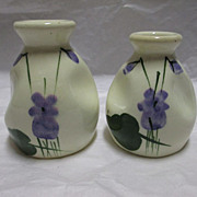 Pair of Delavelle's Hand-Painted Devon Violets Pottery Perfume Bottles