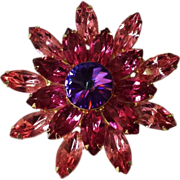 Star Shaped Gold-tone Fancy Volcano Rivoli and Fuchsia and Light Pink Prong-set Rhinestones ..