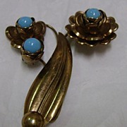Huge Copper and Turquoise Blue Glass Flower and Leaf Broach