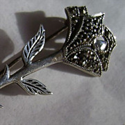 Vintage Sterling Silver and Marcasite Rose Broach