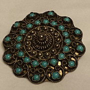Scalloped Round Persian Turquoise and 950 Hand Wrought Silver Broach