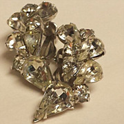 Kramer of New York Long Crescent Shape Clear Rhinestone and Silver-Tone Clip-On Earrings