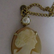 Delicate Lavalier Style Natural Carved Shell Cameo and Pearl Pendant Necklace