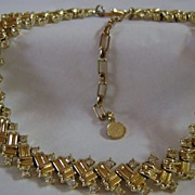 Elegant Gold Tone and Clear Rhinestone Leru Adjustable Length Necklace