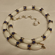 Crown Trifari White Lucite Bead and Blue Enamel Gold-Tone Metal Necklace