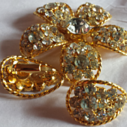 Gold-Tone and Clear Rhinestone Flower Broach and Clip-On Earring Demi-Parure