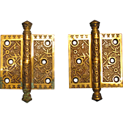 A Pair of Sargent & Co. Bronze Aesthetic Hinges Ekado Pattern