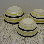 SALE Black & Yellow Stripe Stoneware Nesting Bowls