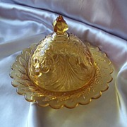 Amber Glass Covered Butter Dish